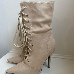 Beige lace up heel boots
